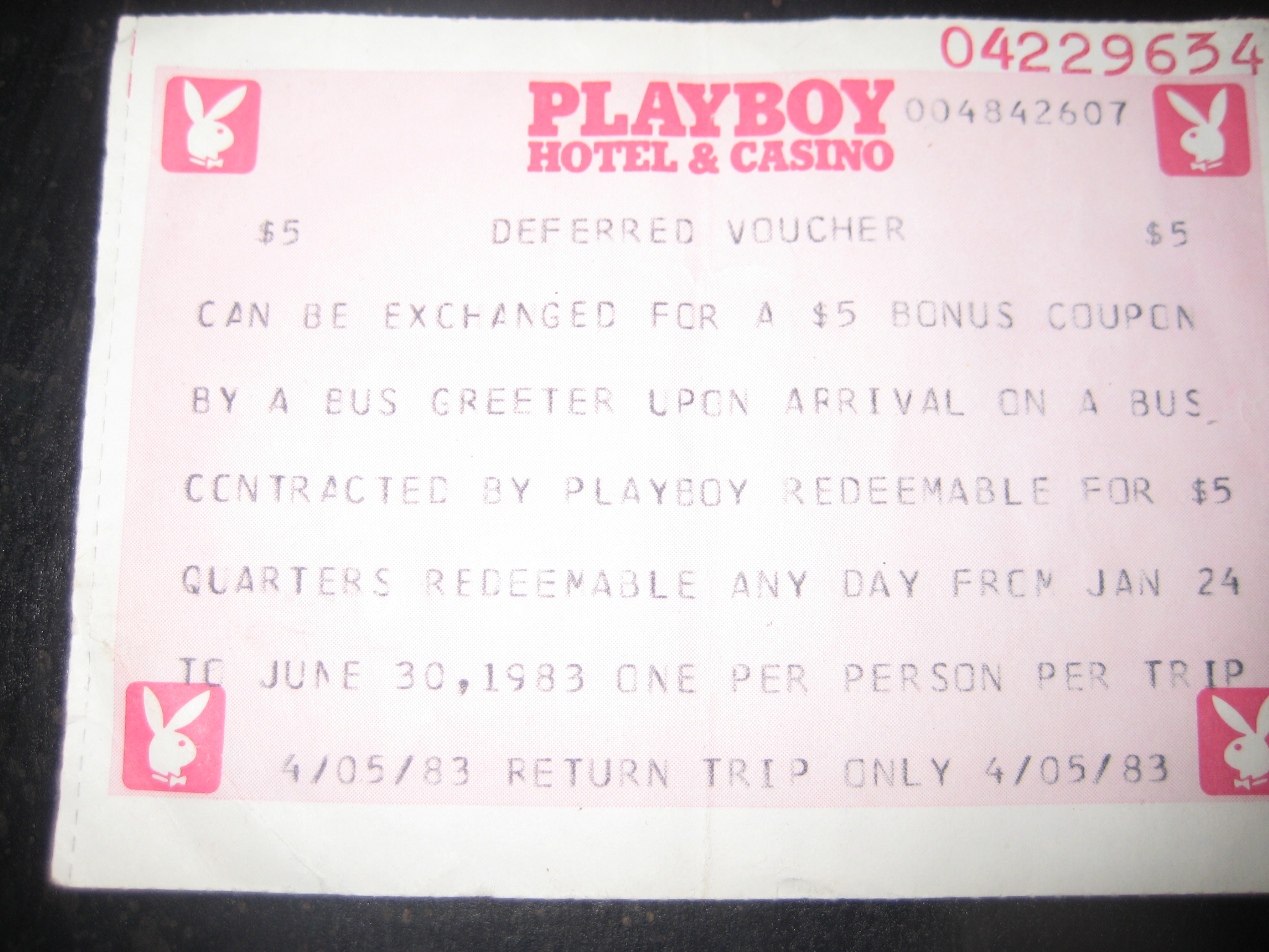 Bus Ticket Redemption Playboy Casino Atlantic City