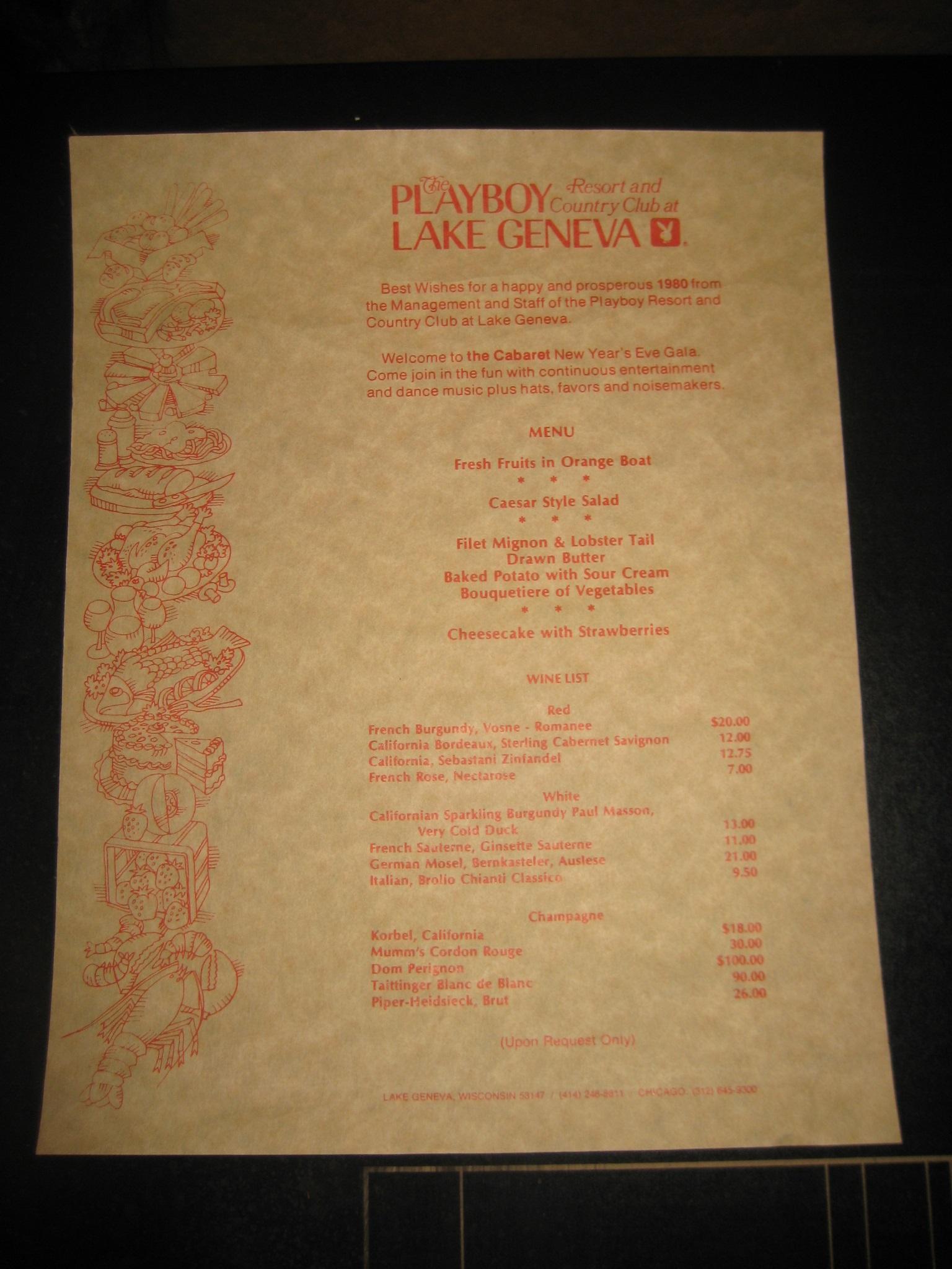 Playboy Club Lake Geneva New Years Eve Gala 1979 Menu