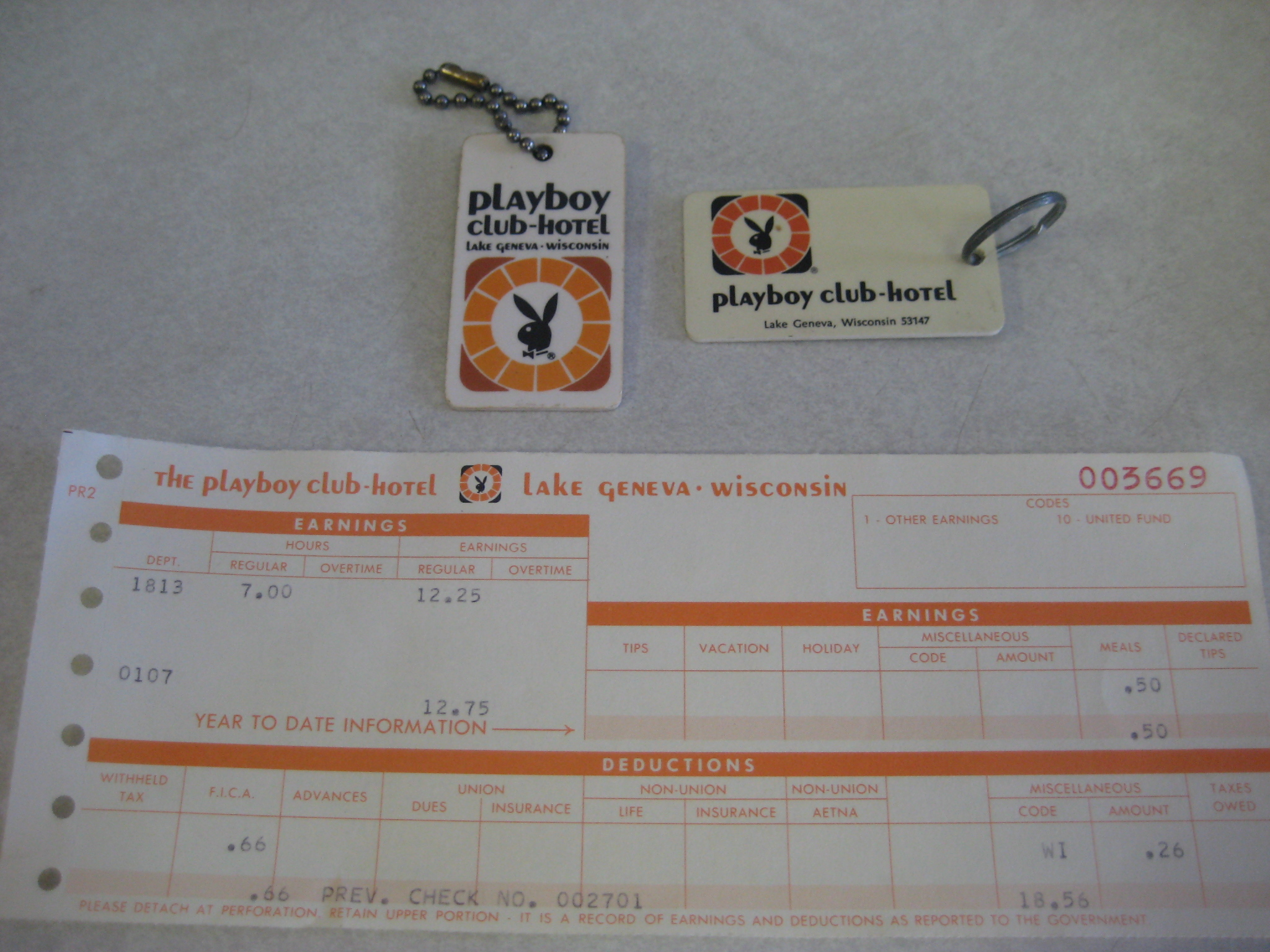 Playboy Club Lake Geneva key chains pay stub