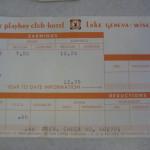 Playboy Club Lake Geneva Pay stub