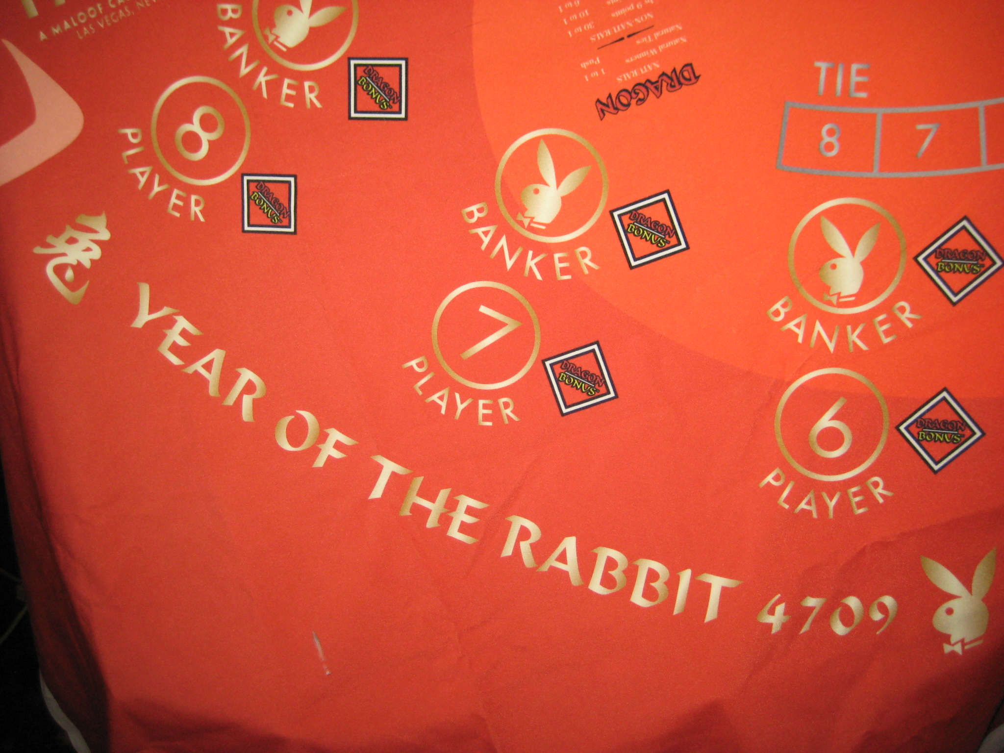Playboy Las Vegas Punto Banco / Mini Baccarat Table cover full size never used Year of the Rabbit