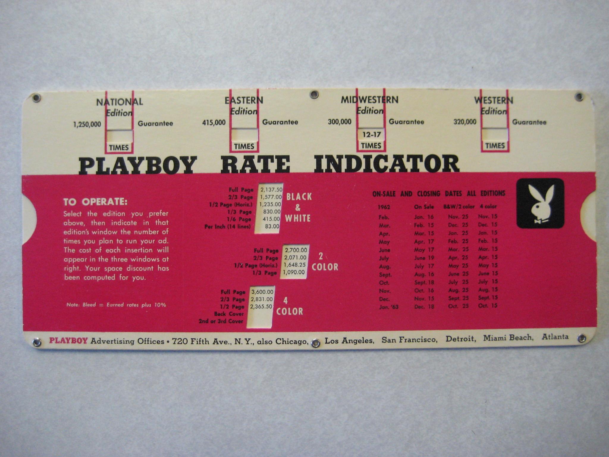 Playboy Advertising Rate Indicator 1963