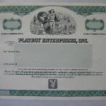 Playboy Enterprises blank stock certificate
