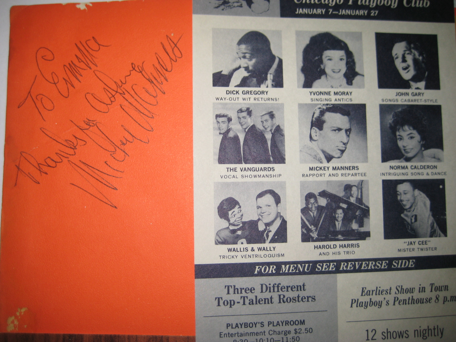 Mickey Manners Playboy Club Autograph