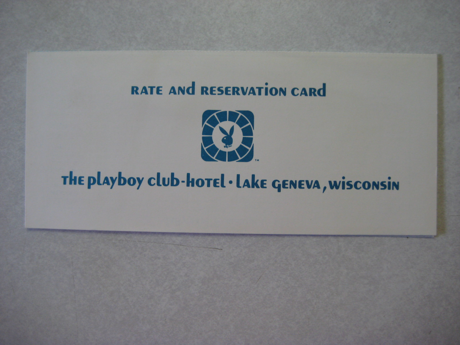 Playboy Club Hotel Lake Geneva Rate and Reservation Card