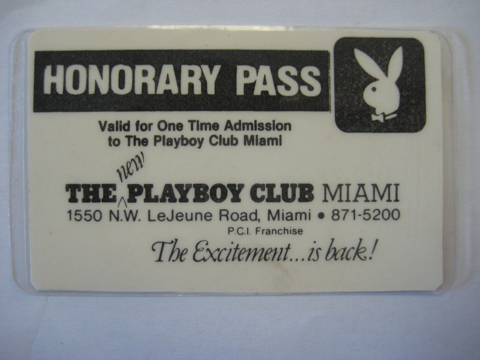 Playboy Honorary Pass Miami Club