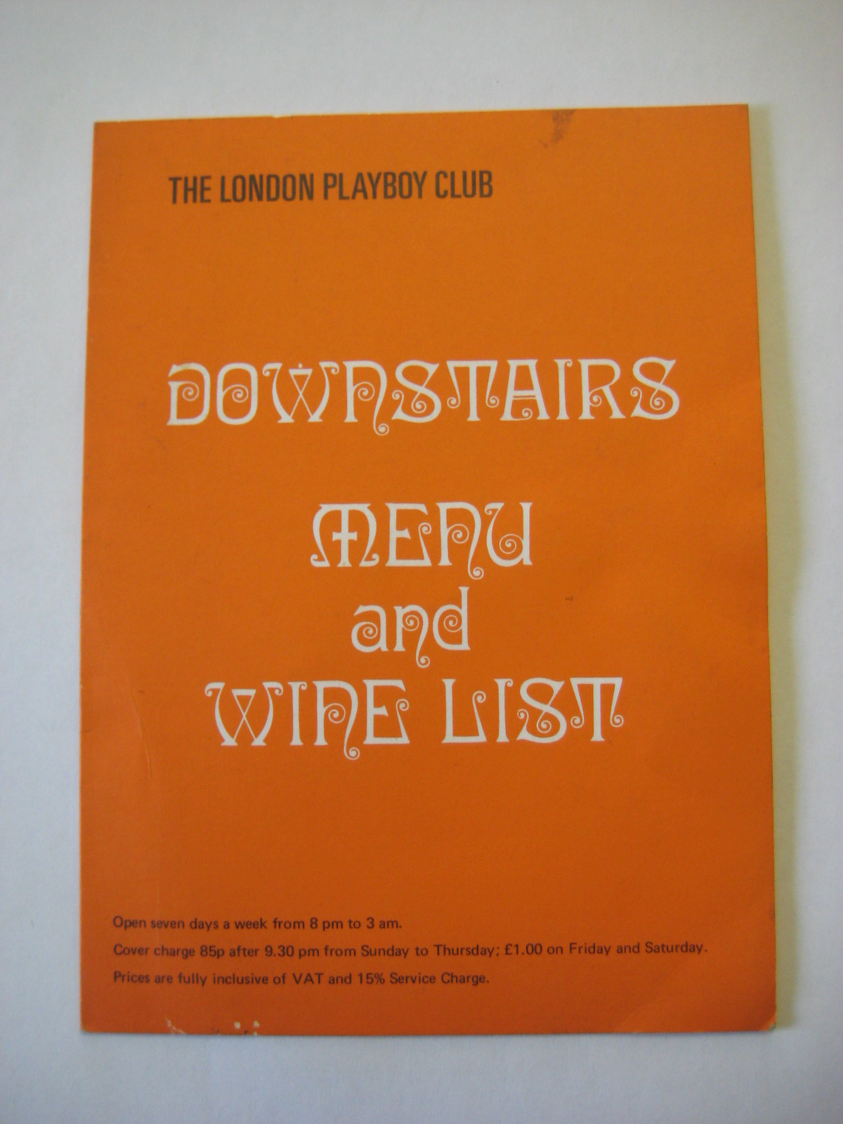 London Playboy Club Downstairs Menu 1975