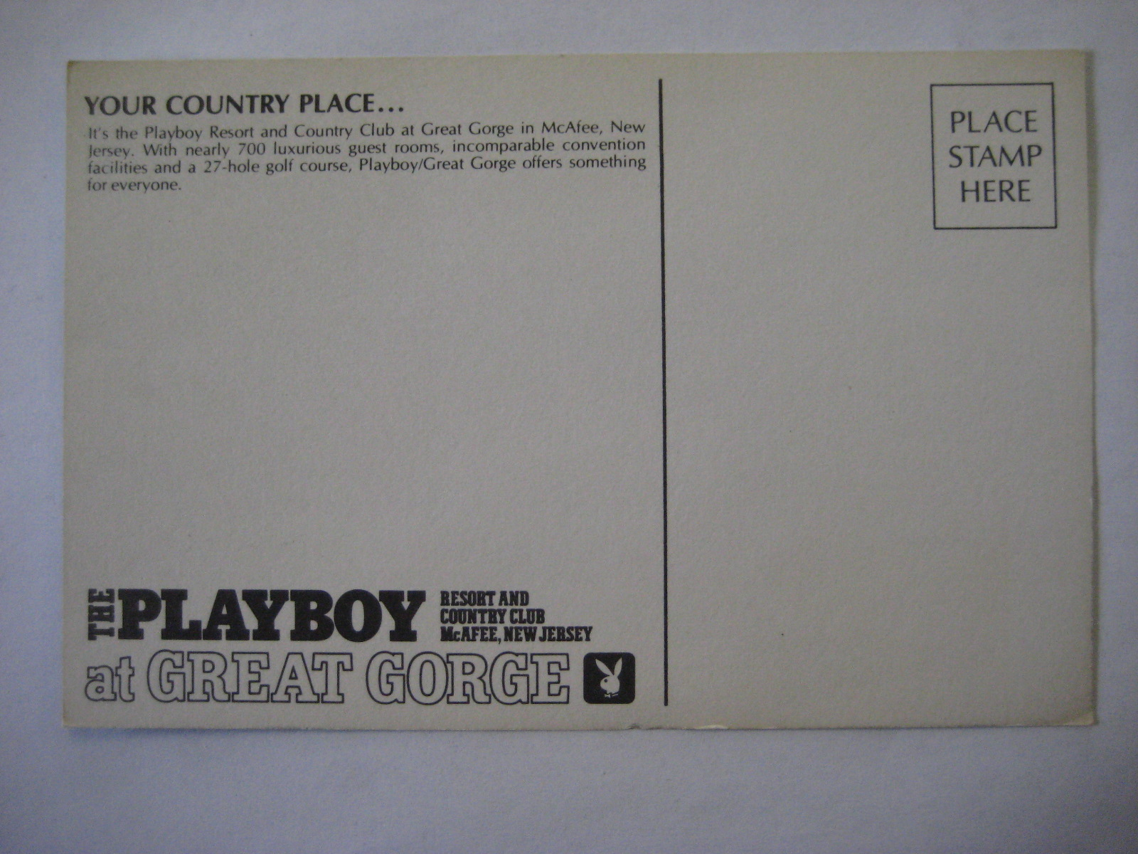 Playboy Club Great Gorge Postcard