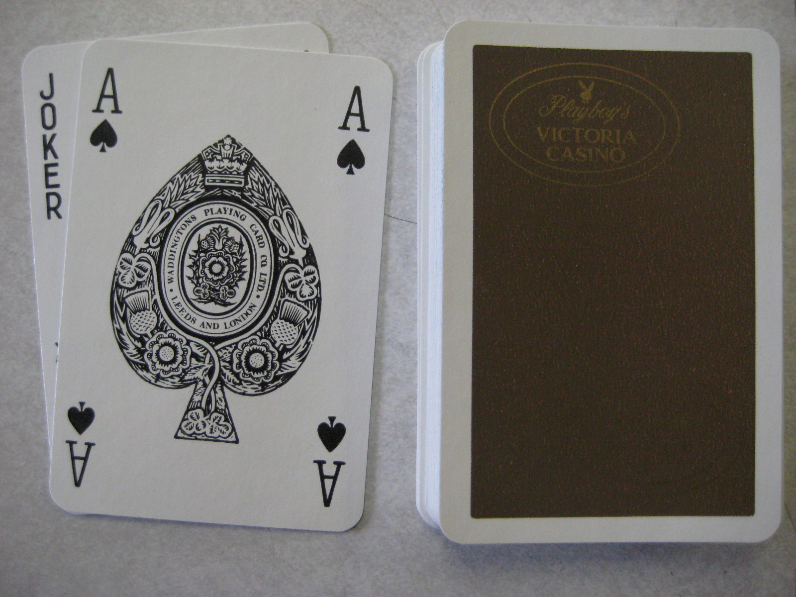 Playboy's Victoria Casino Brown Deck of Playing Cards