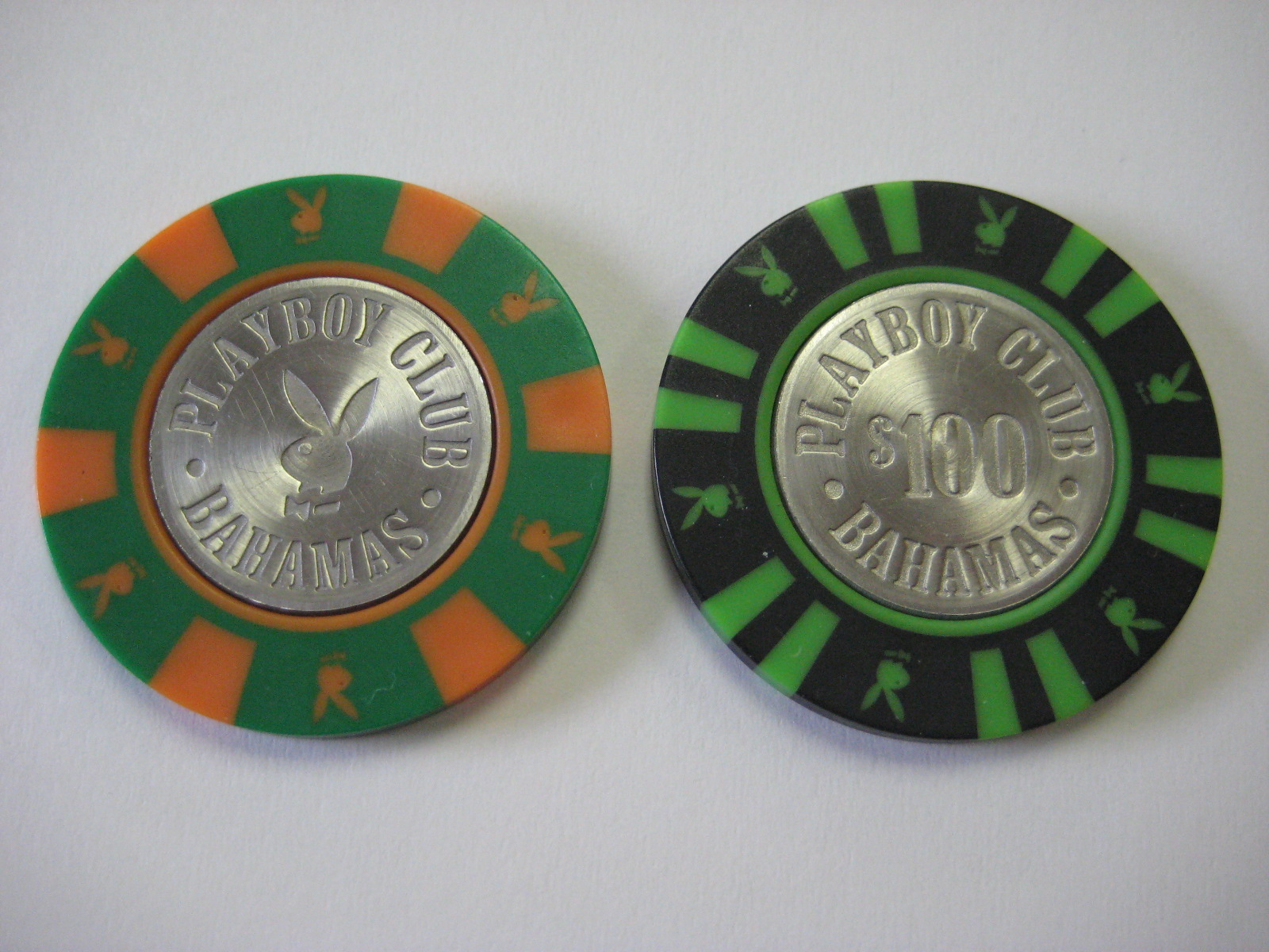 Playboy Bahamas 25 and 100 Dollar Chips