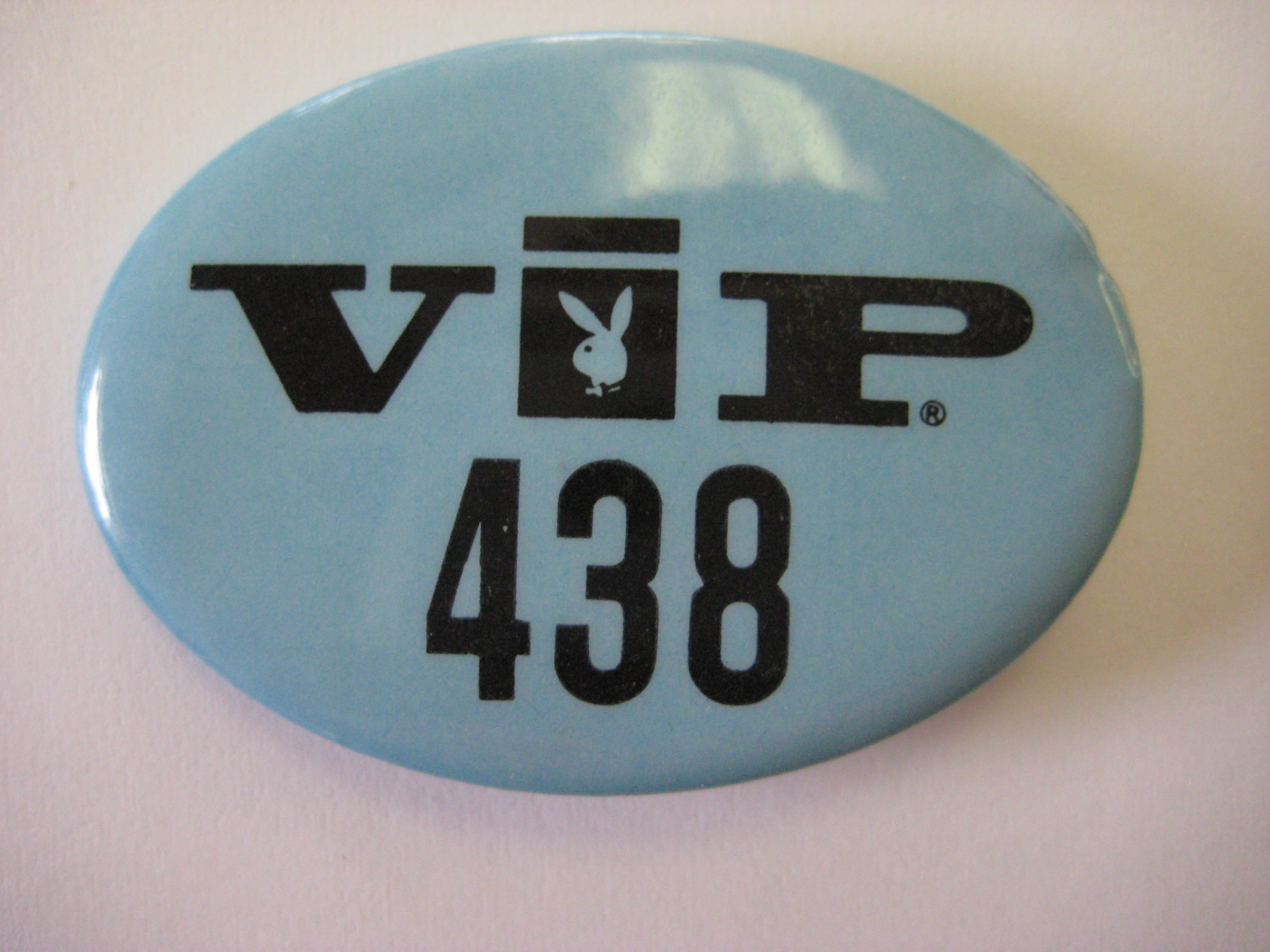 Blue Playboy VIP pin back