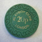 1977 20 Pence scroll design chip Playboy