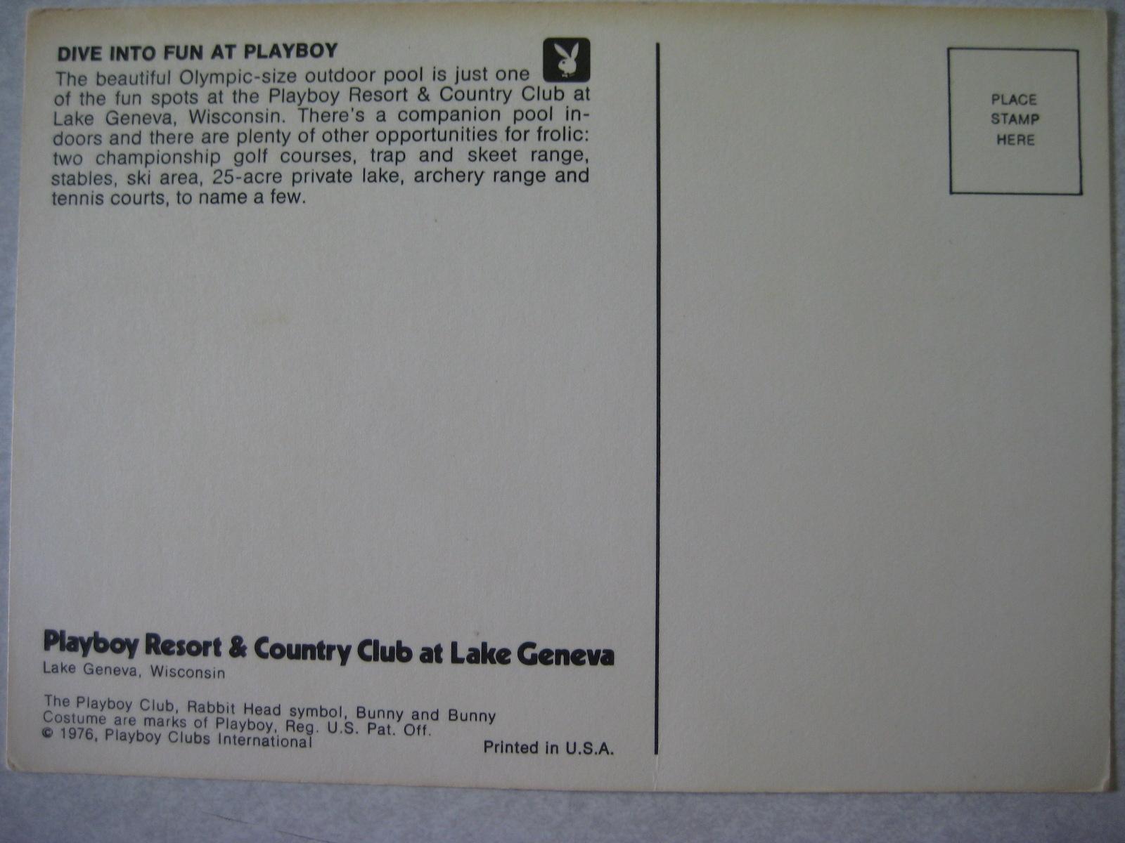Lake Geneva Dive into Fun at Playboy Postcard 1976