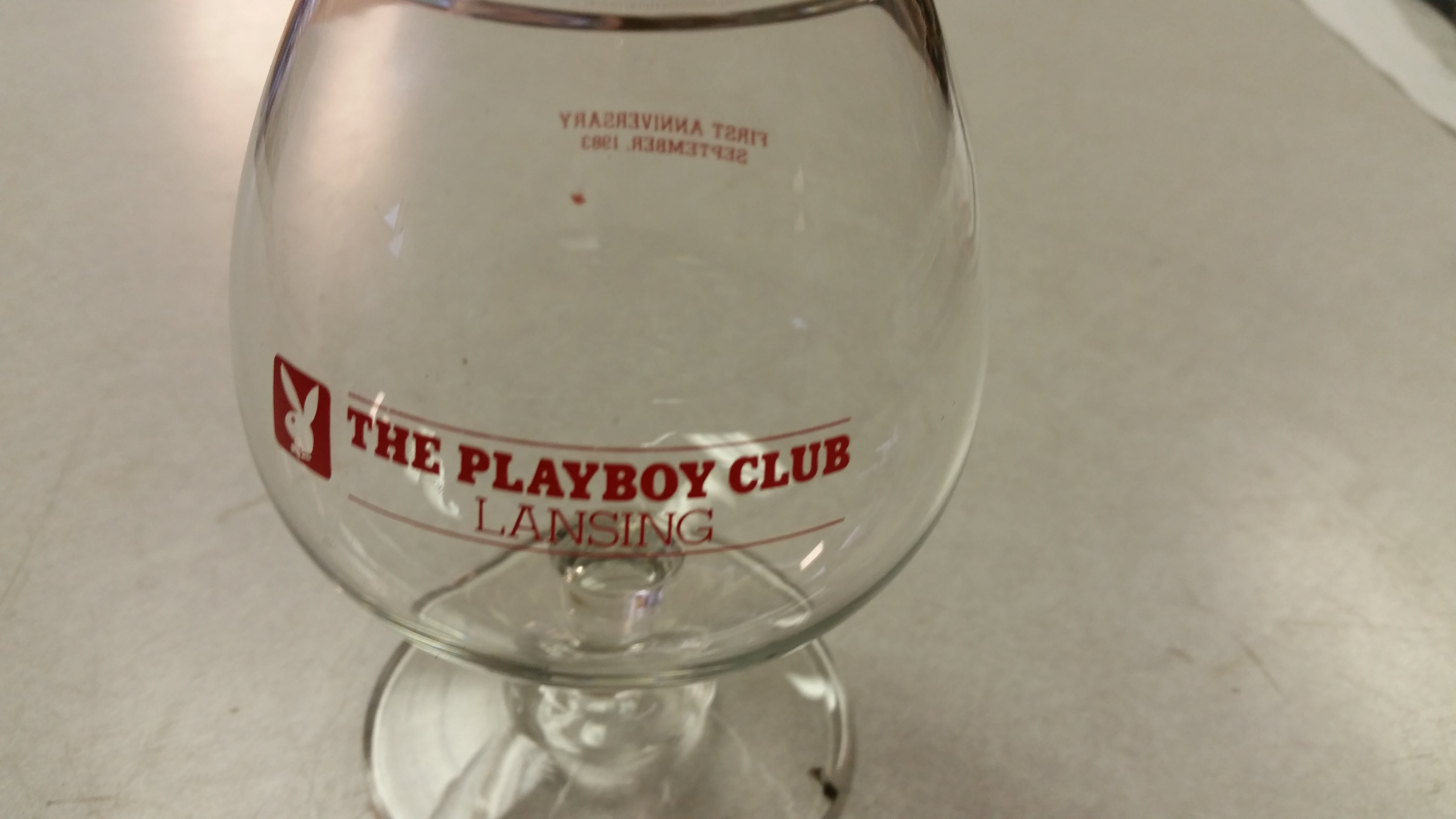 Playboy Club Lansing Brandy Snifter 1st Anniversary 1983