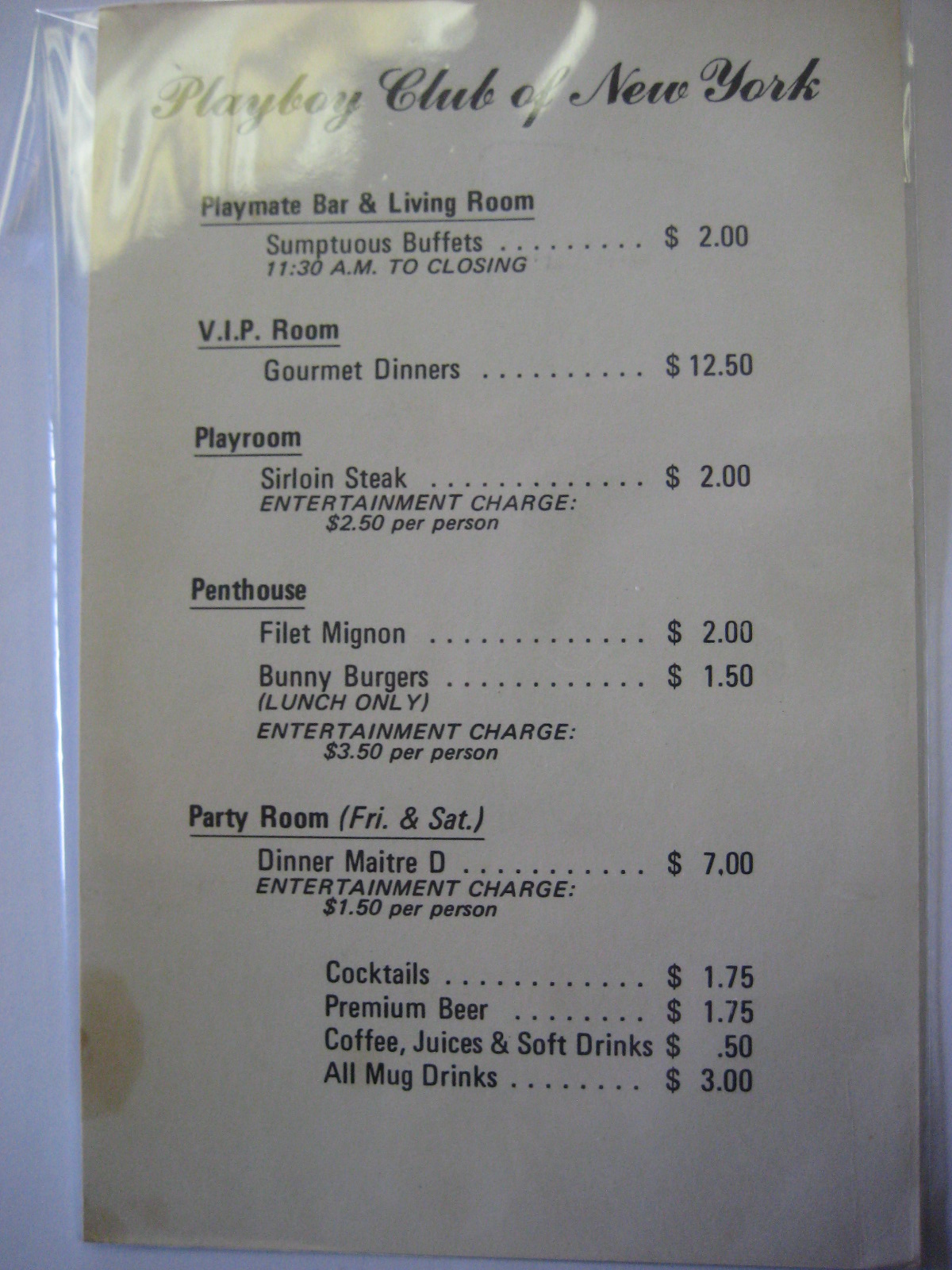 Playboy Club NY Menu