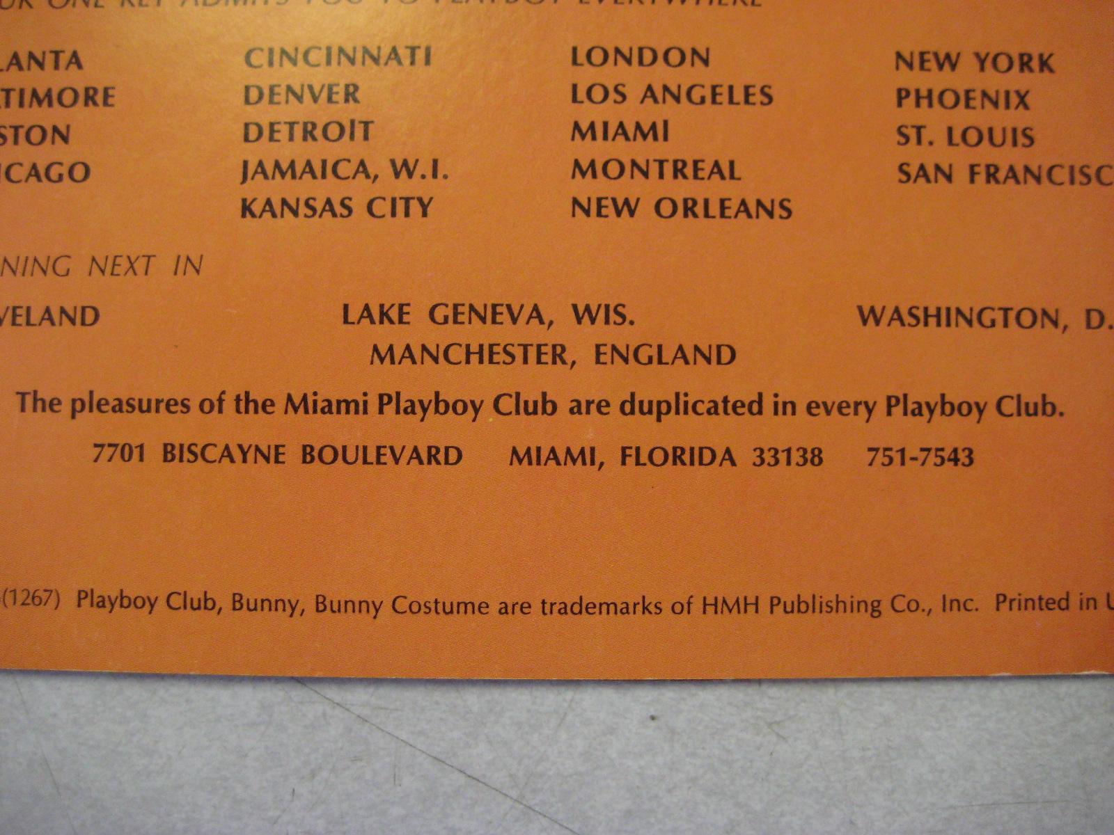 Miami Playboy Club Menu