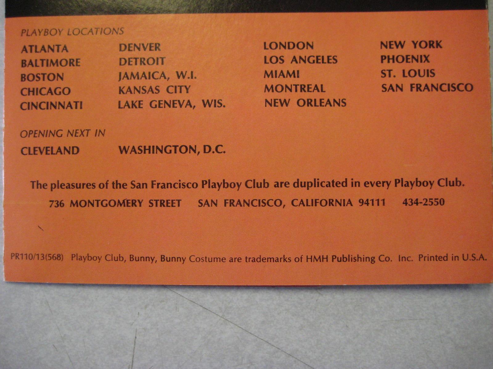 San Francisco Playboy Club Menu