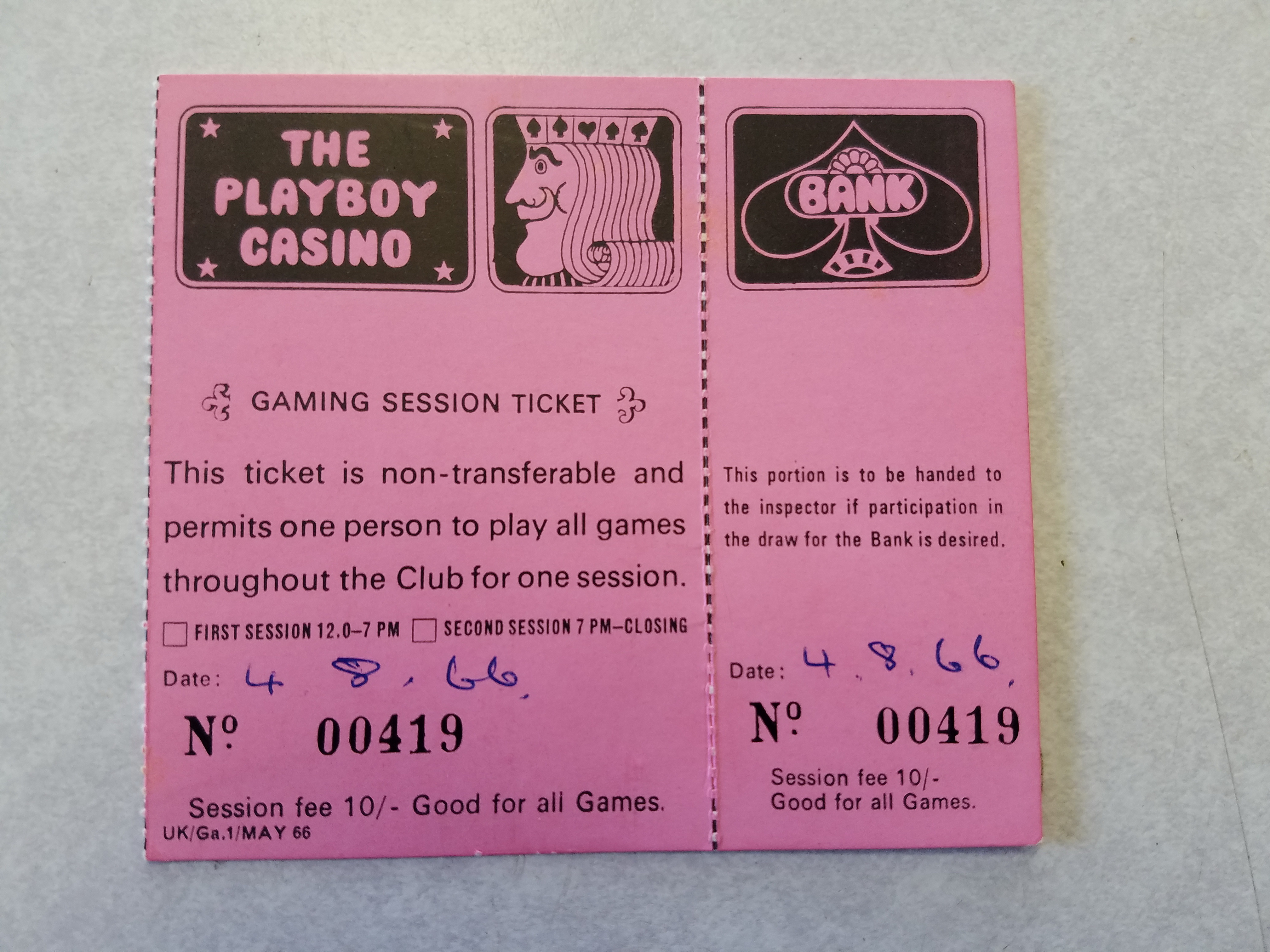 London Playboy Club Casino Gaming Session Ticket